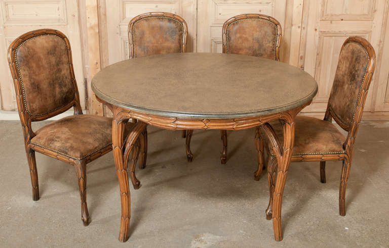 Art nouveau game table and chairs set at 1stdibs for Dining room game table