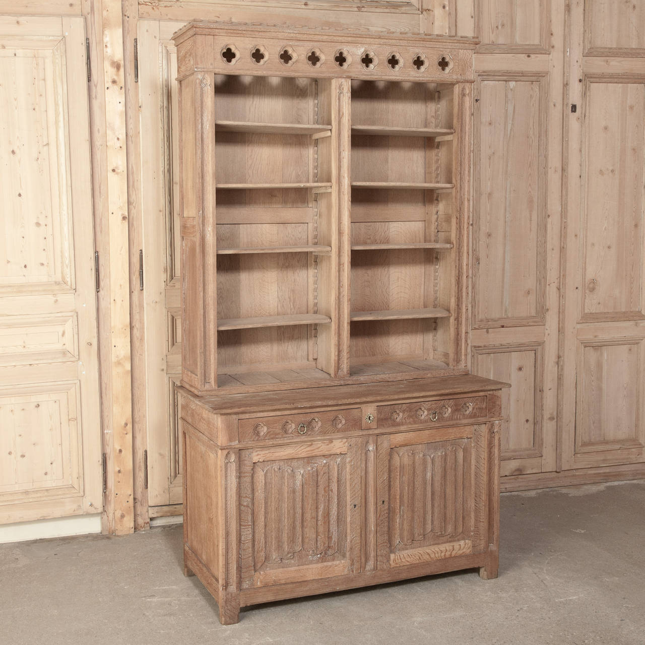 19th Century French Gothic Revival Stripped Solid Oak Bookcase 3