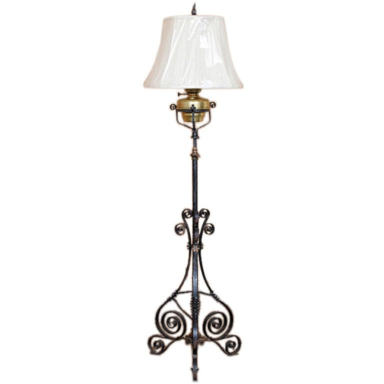 antique country french wrought iron oil lantern floor lamp at 1stdibs. Black Bedroom Furniture Sets. Home Design Ideas