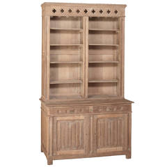 19th Century French Gothic Revival Stripped Solid Oak Bookcase