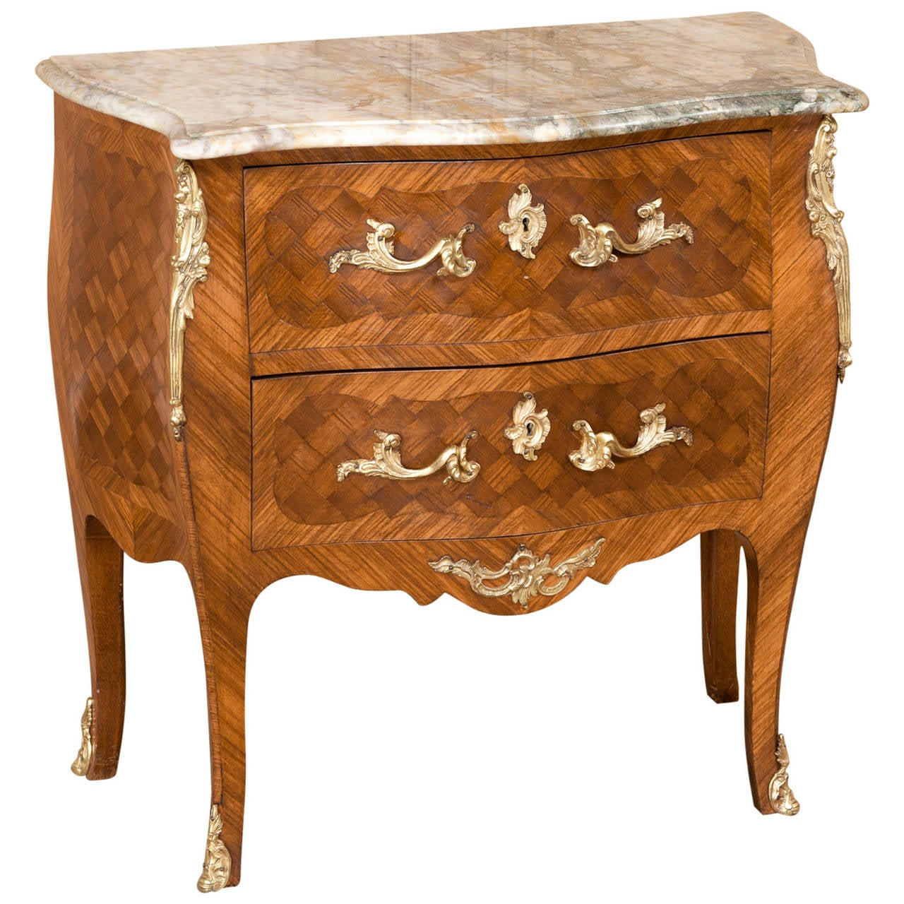 Louis Xv Bombe Marquetry Marble Top Commode At 1stdibs
