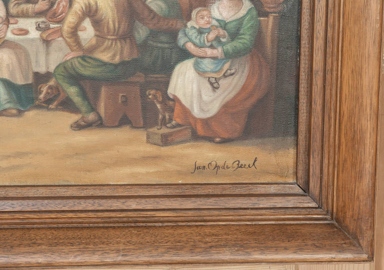 Antique Painting After David Teniers the Younger (1610-1690) by Jan Op De Beeck In Excellent Condition For Sale In Dallas, TX