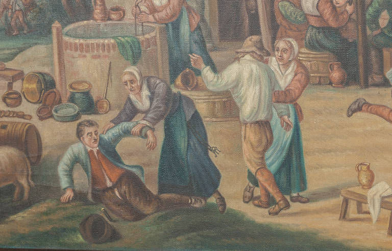 Canvas Antique Painting After David Teniers the Younger (1610-1690) by Jan Op De Beeck For Sale