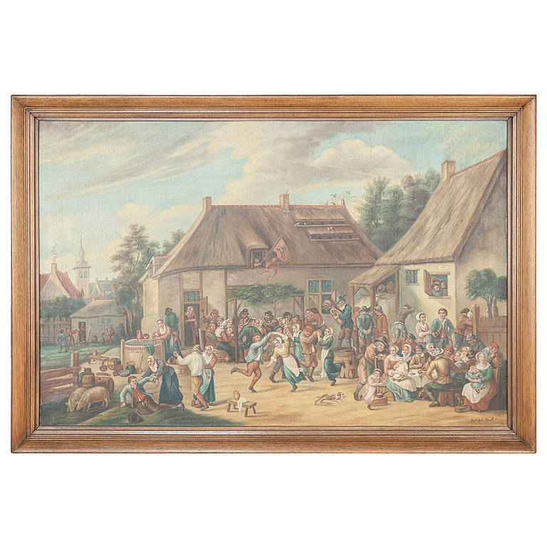 Antique Painting After David Teniers the Younger (1610-1690) by Jan Op De Beeck For Sale