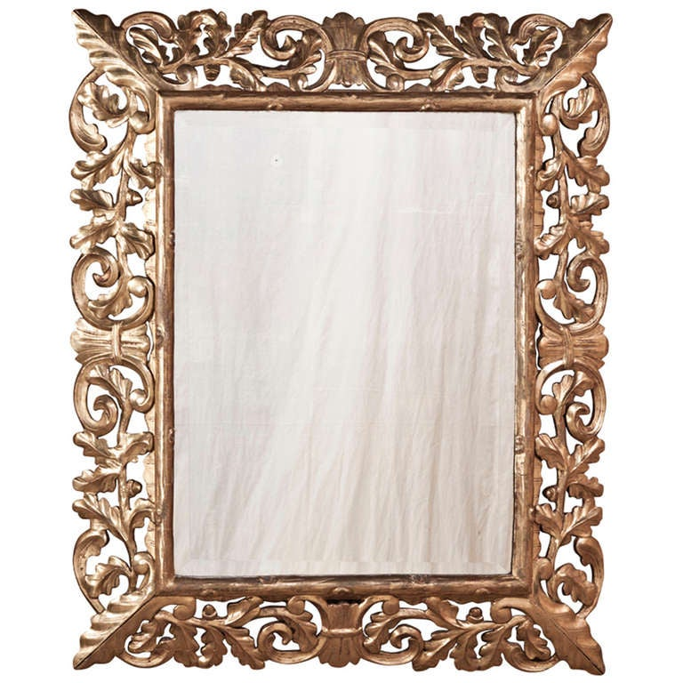 19th century antique italian giltwood baroque mirror at