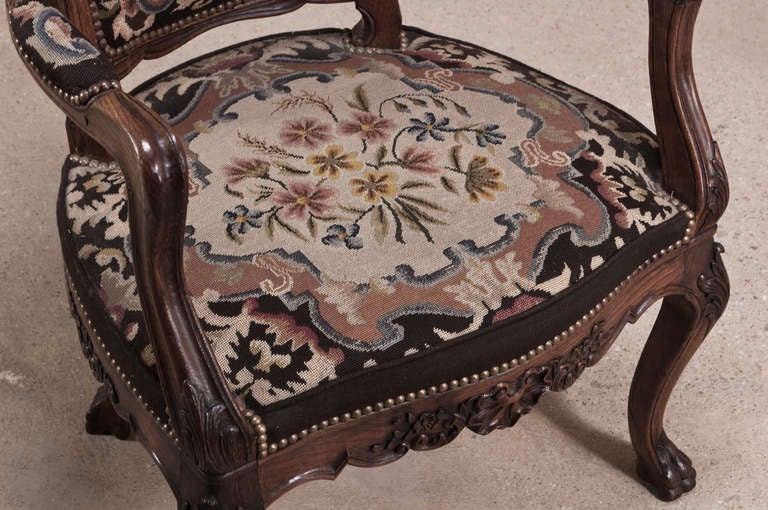 Pair Antique Chippendale Needlepoint Tapestry Armchairs At