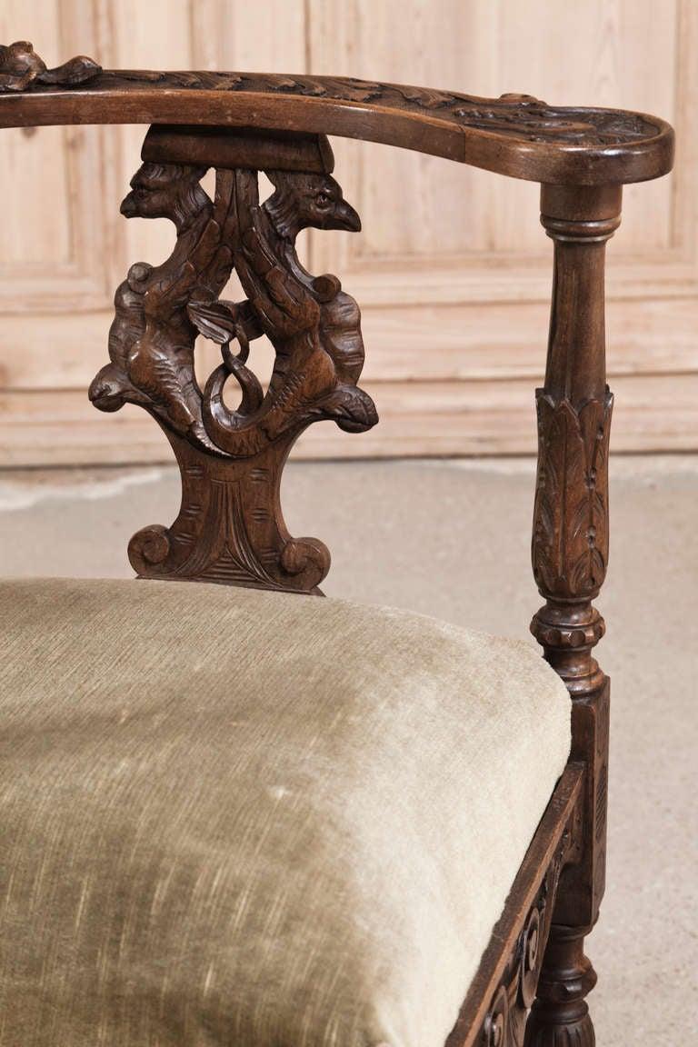 Antique corner chairs - Pair Antique Italian Renaissance Corner Chairs 3