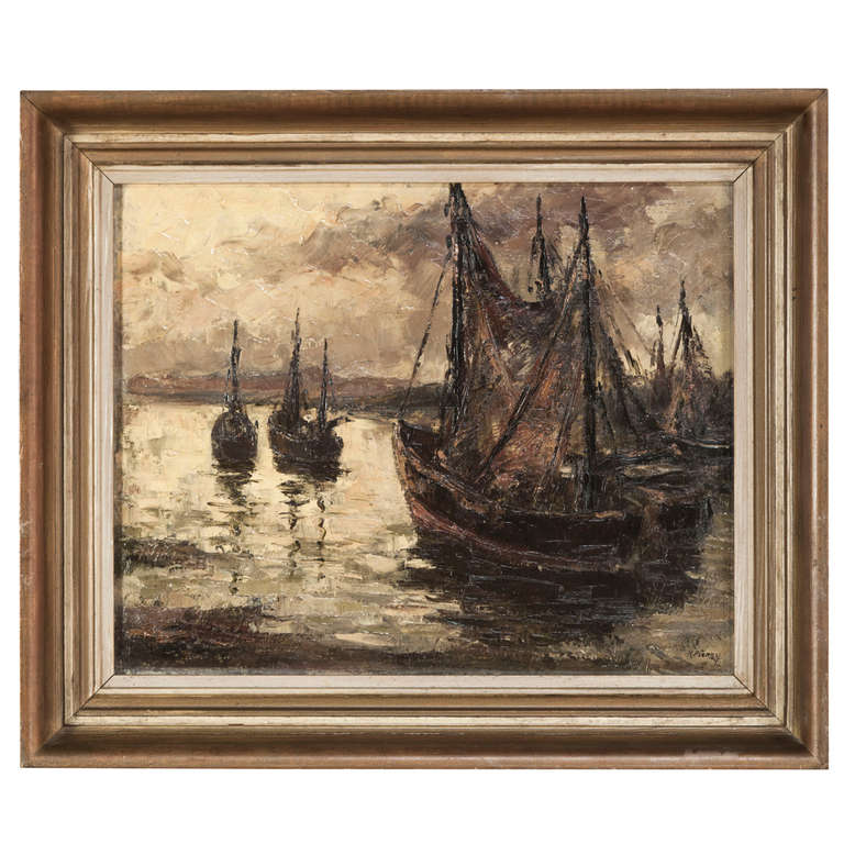 vintage framed oil painting on canvas at 1stdibs