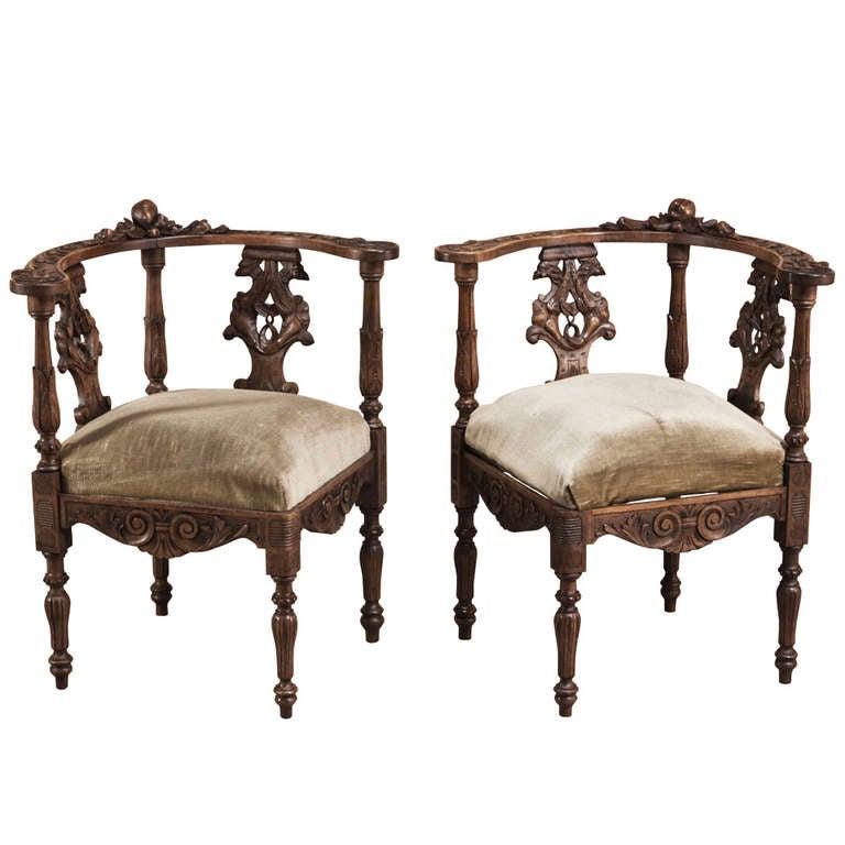 Pair Antique Italian Renaissance Corner Chairs 1 - 19th C. Pair Antique Italian Renaissance Corner Chairs At 1stdibs