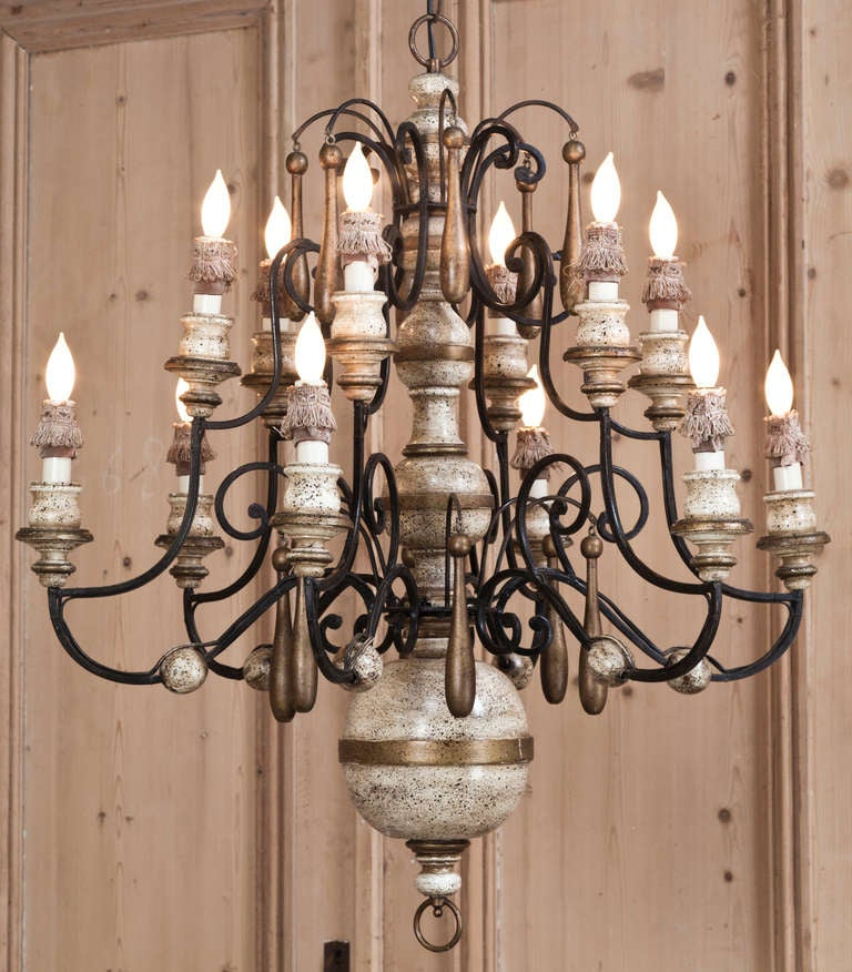 Vintage Wrought Iron And Wood Chandelier At 1stdibs