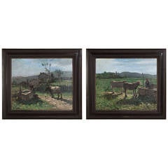 Pair of Italian Oil on Canvas Paintings in Original Frames by Contardo Barbieri