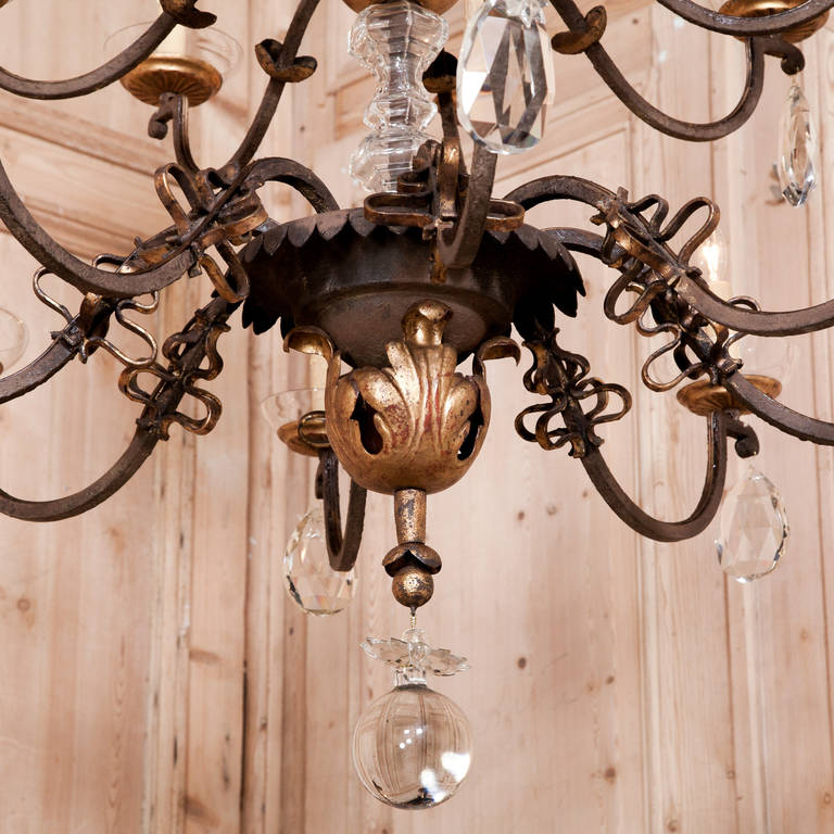 Grand Wrought Iron And Crystal Chandelier At 1stdibs