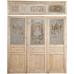 Set of Three Pine Doors with Etched Glass & Transom