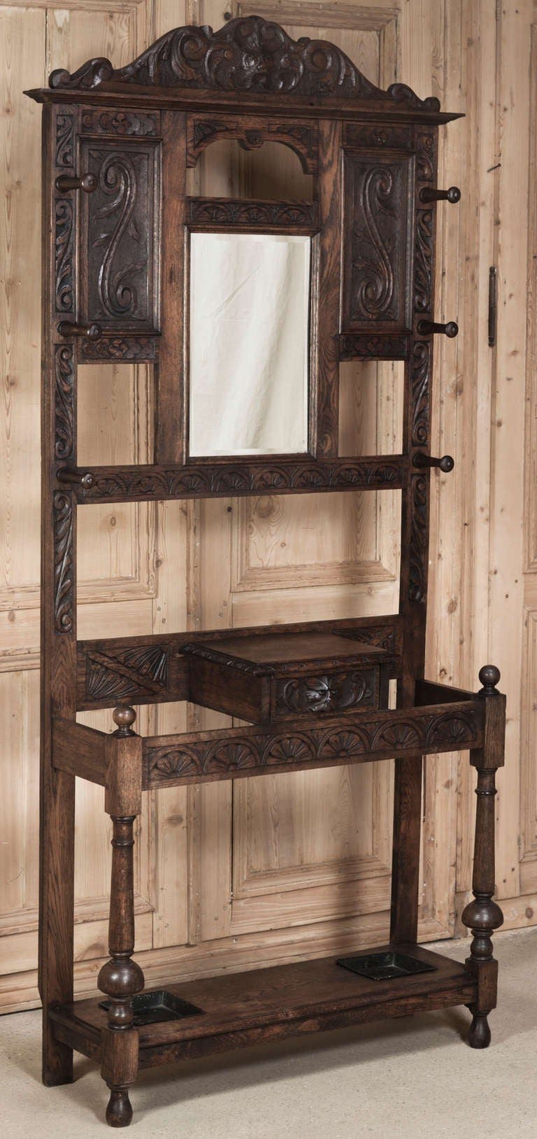 Antique Rustic Renaissance Hall Tree At 1stdibs