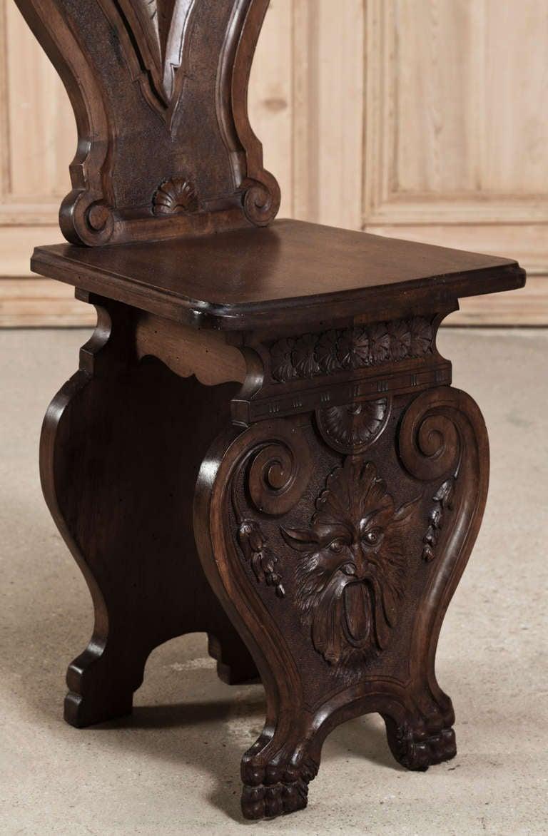 Four antique italian renaissance walnut salon chairs image 8 for Salon medieval