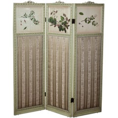 Antique Italian Neoclassical Hand-Painted Dressing Screen with Colored Engraving