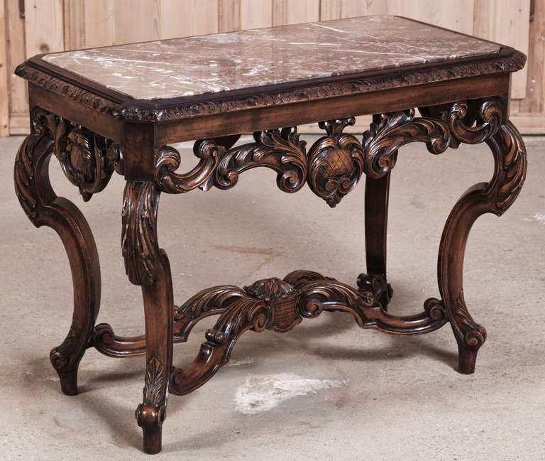 Prices For Marble Top Coffee Tables: Vintage Louis XIV Marble Top End Table At 1stdibs