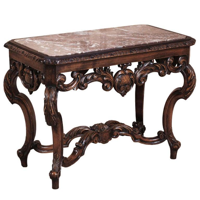 Vintage Louis XIV Marble Top End Table 1