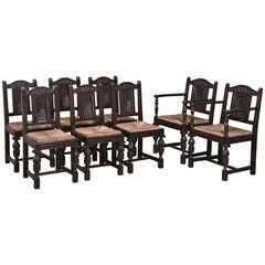 Set of 8 Vintage Rush Seat Chairs