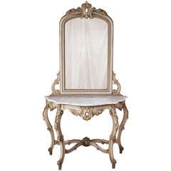 Antique Venetian Painted Console with Mirror