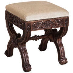 Antique French Gothic Footstool