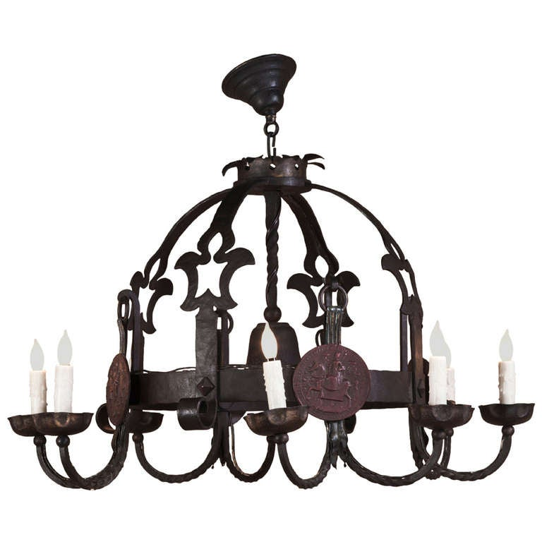 Antique French Wrought Iron Chandelier At 1stdibs