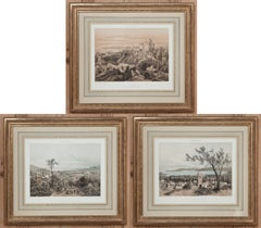 Set of Three Framed Hand-Colored Engravings