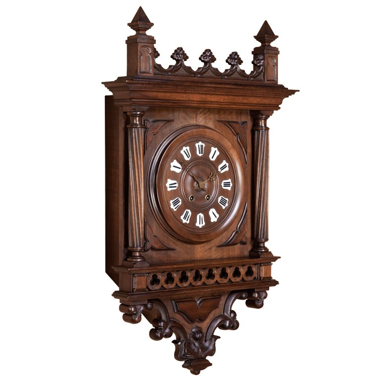 antique gothic walnut wall clock at 1stdibs