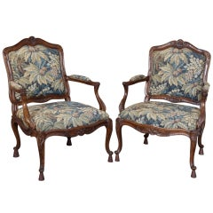 Pair of Antique Louis XV Walnut Tapestry Armchairs