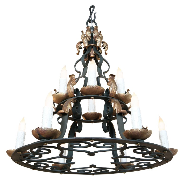 Antique Country French Wrought Iron Chandelier At 1stdibs