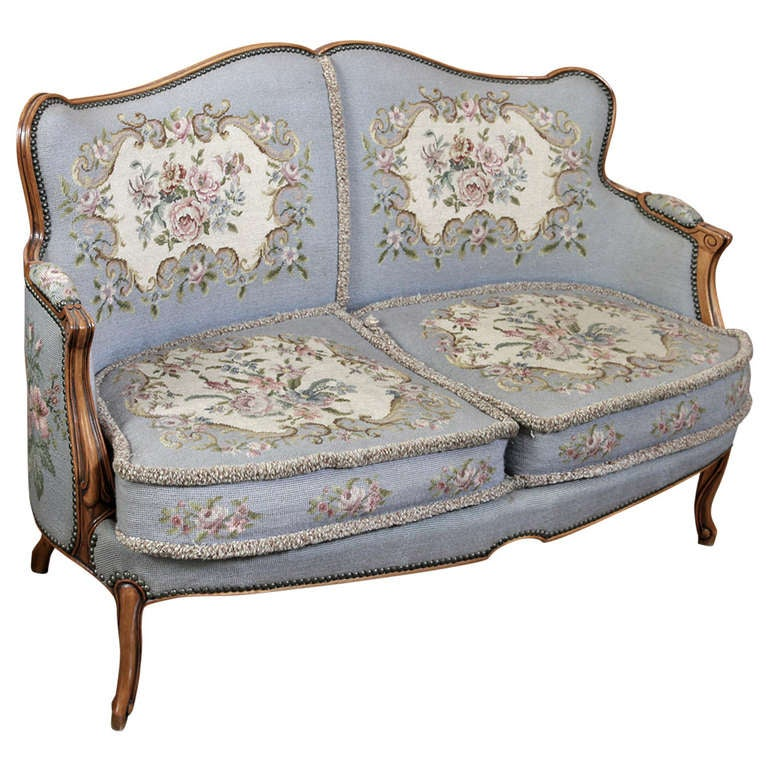 Antique Tapestry Sofa: Antique French Louis XV Needlepoint Sofa At 1stdibs