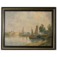 """Antique Oil Painting on Canvas """"The Wittenberg Harbor"""""""