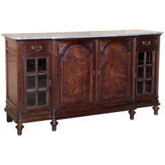Antique Louis XVI Walnut Marble Top Buffet