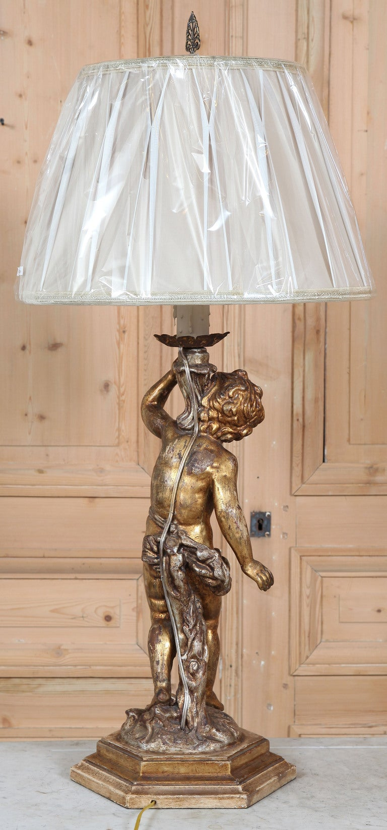 Antique Lamp Vintage Table Co : Antique polychrome cherub table lamp at stdibs