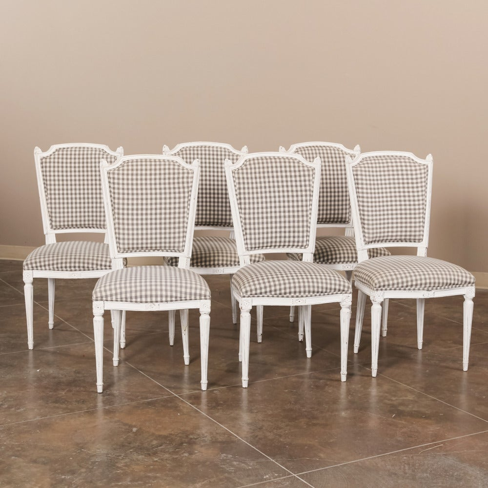 Set Of Six French Painted Louis XVI Style Dining Chairs At 1stdibs