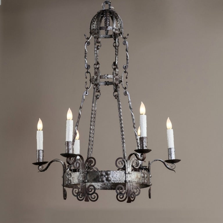 Vintage Country French Wrought Iron Chandelier At 1stdibs