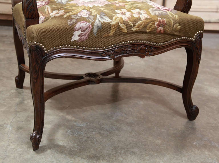 Antique French Louis Xv Tapestry Armchair At 1stdibs
