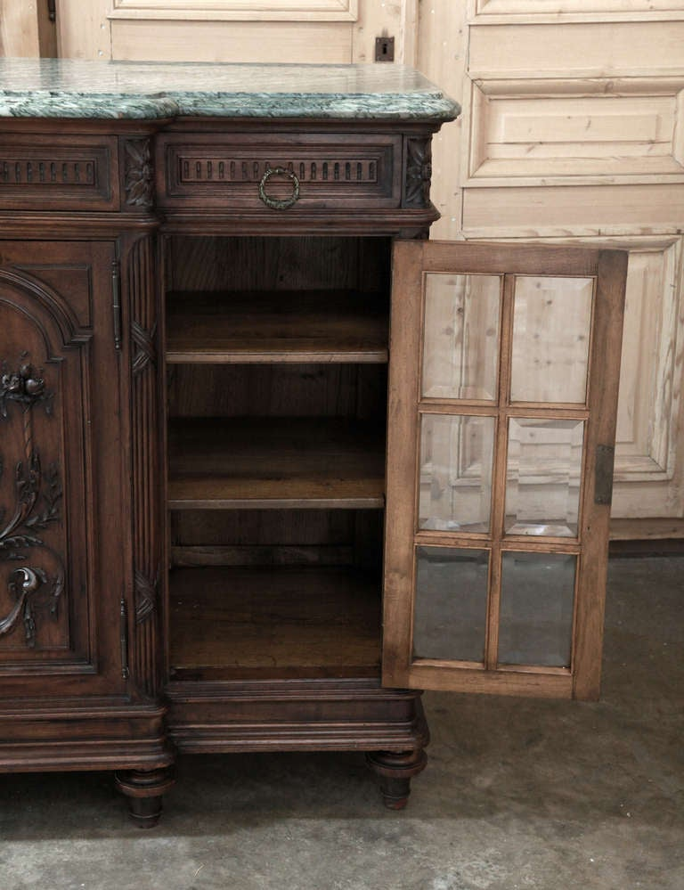 antique french louis xvi marble top walnut buffet at 1stdibs. Black Bedroom Furniture Sets. Home Design Ideas