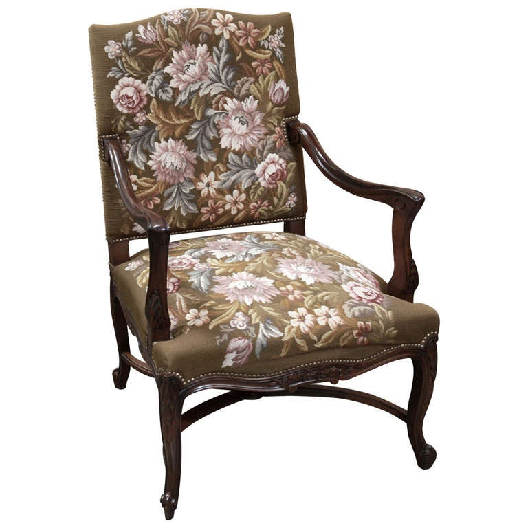 Antique French Louis XV Tapestry Armchair
