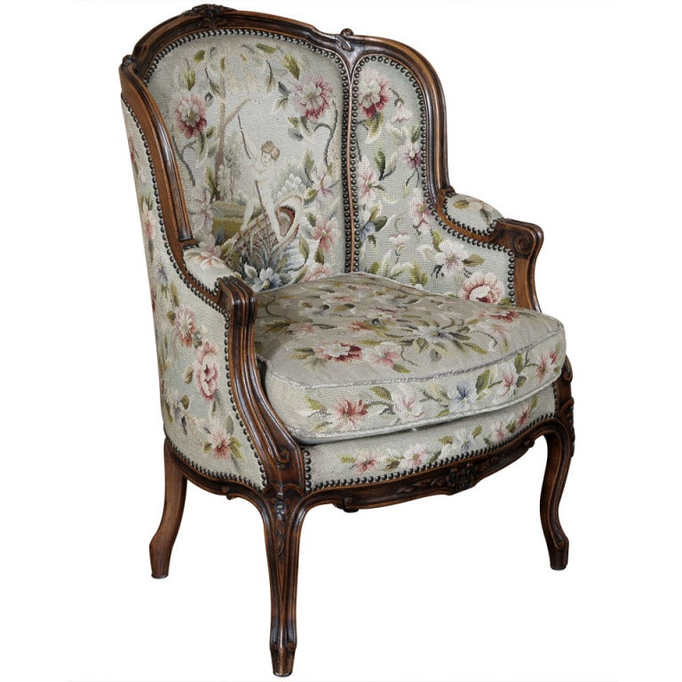 antique french louis xv needlepoint bergere at 1stdibs fighting chair hardware parts fighting chairs for boats