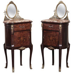 French 19th Century Rosewood Pair of Louis XVI Marquetry Nightstands