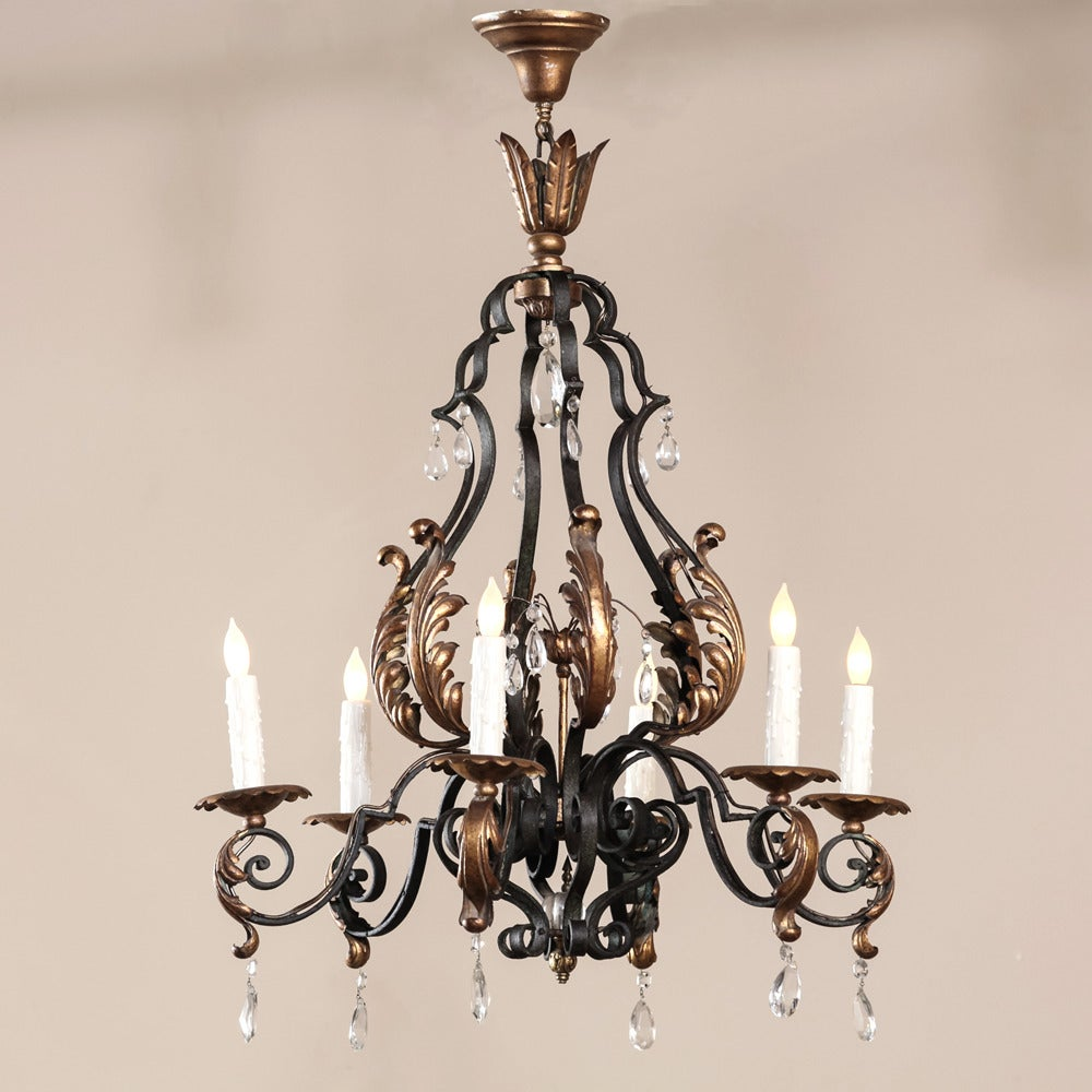 Country French Painted Wrought Iron Chandelier With