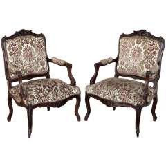 Pair Antique Louis XV Walnut Armchairs