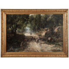 Antique Grand Impressionistic Oil Painting by Jeno Karpathy (1870-1950)