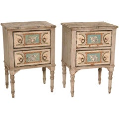 Antique Pair of Italian Hand Painted Commodes
