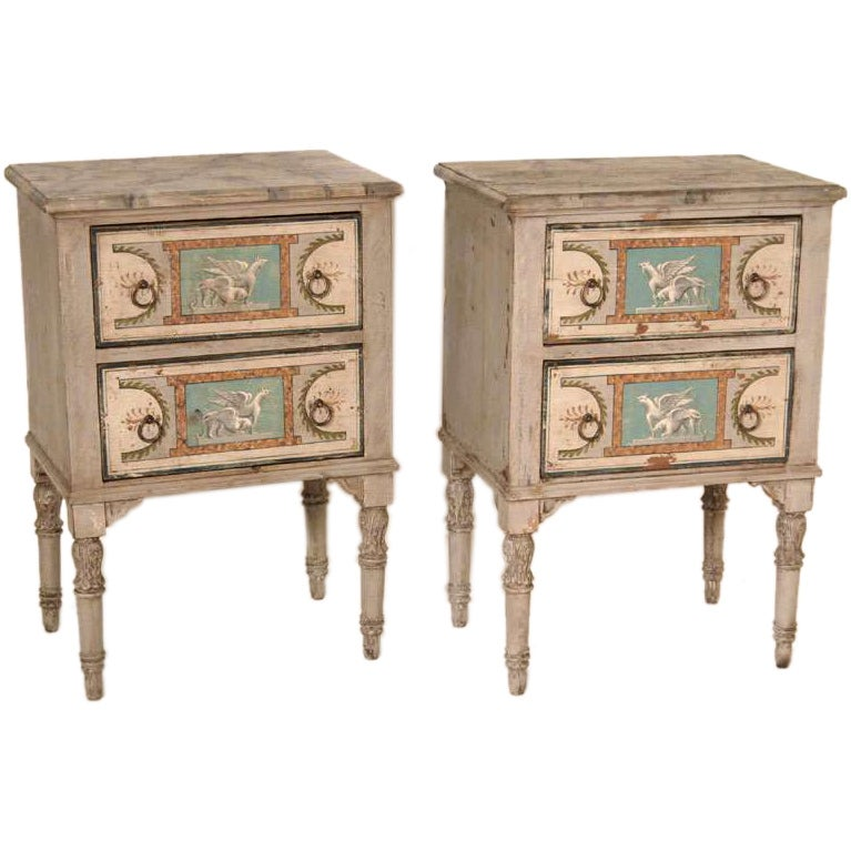 Antique pair of italian hand painted commodes at 1stdibs for Italian painted furniture