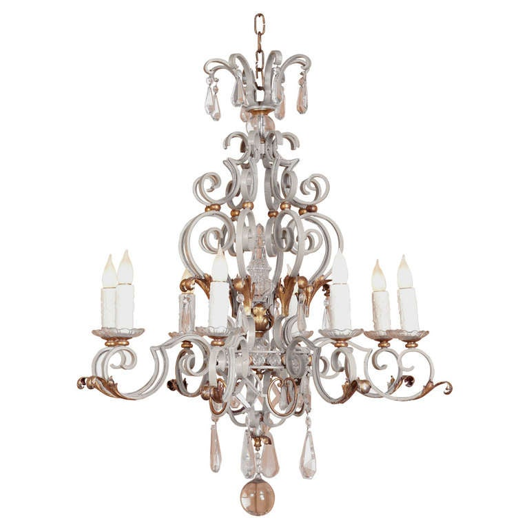 Antique Provincial Wrought Iron And Crystal Chandelier At