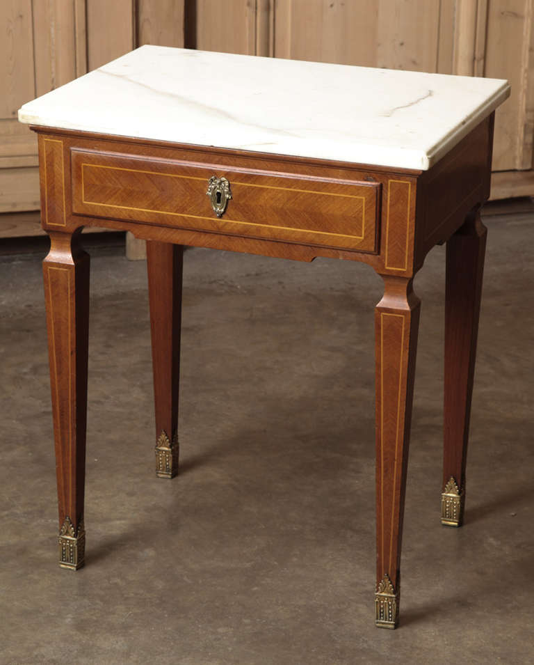 Pair Of Antique French Marquetry Marble Top Nightstands At
