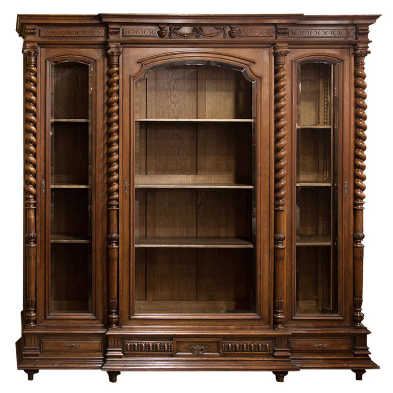 Antique Neoclassic French Walnut Bookcase At 1stdibs