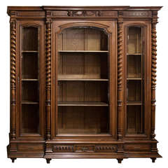 Antique Neoclassic French Walnut Bookcase